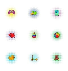 Game icons set pop-art style vector image vector image