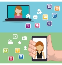 hand holds smartphone laptop social media apps vector image