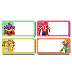 Label design with clown and circus tents vector image