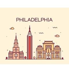Philadelphia skyline trendy linear style vector image