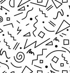Retro 80s seamless pattern in black and white vector image