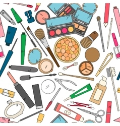 seamless pattern with tools for makeup in bright vector image vector image