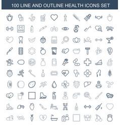 100 health icons vector