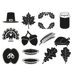 13 black white thanksgiving silhouette elements vector