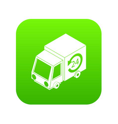 24 hour delivery icon green vector image