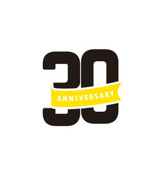 30 years anniversary number with yellow ribbon vector