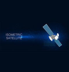 3d satellite isometric background vector