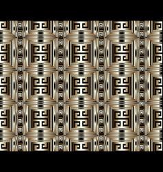 3d striped greek key meander seamless pattern vector