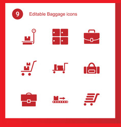 9 baggage icons vector