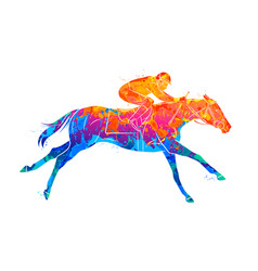 Abstract racing horse with jockey from splash of vector