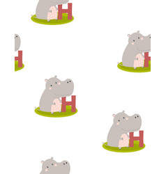 animal alphabet pattern with hippo vector image