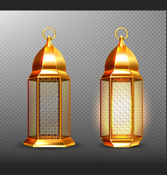 Arabic lamps gold arab lanterns with ornament vector