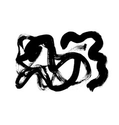Black paint ink brush stroke or swirls vector