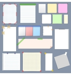 Blank Note Paper with Sticky Colorful Tape Set vector