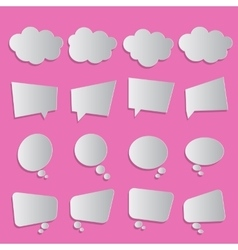Blank white simple bubbles set pink background vector image