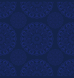 blue seamless doodle pattern ethnic ornament hand vector image