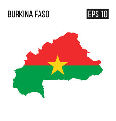burkina faso map border with flag eps10 vector image