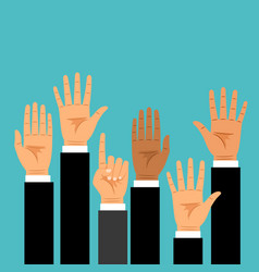 business hands raised up vector image