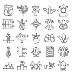Business opportunity icons set outline style vector