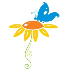 Butterfly on flower vector