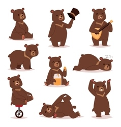 Cartoon bear set vector