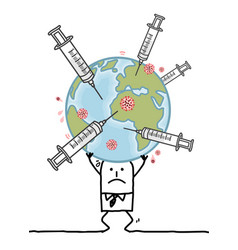 Cartoon man carrying sick earth with syringes vector