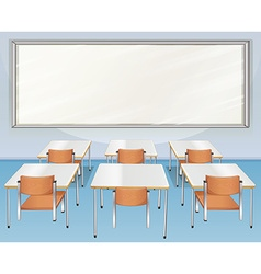 Classroom full of chairs and tables vector
