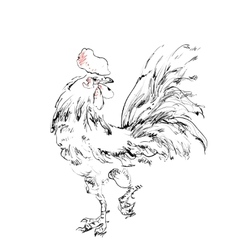 Cock sketch New year symbol vector