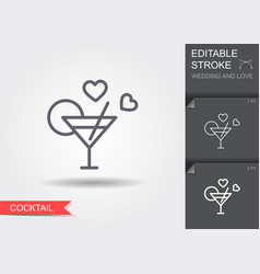 cocktail line icon with shadow and editable vector image