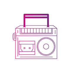 color silhouette radio equipment to listen music vector image
