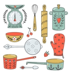 Colorful collection of baking items and sweets vector