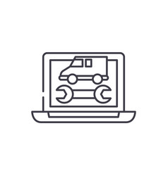 computer diagnostics line icon concept computer vector image