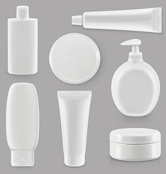 Cosmetics and hygiene plastic packaging set mockup vector image
