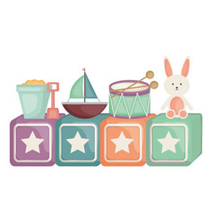 Cubes blocks with stars and toys entertainment vector