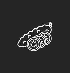cucumber chalk white icon on black background vector image