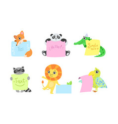 cute animals holding banners set adorable happy vector image