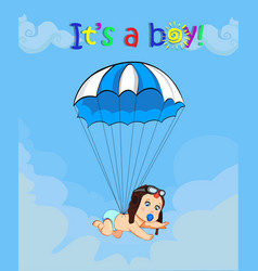 Cute baby boy in pilot hat falling down with blue vector