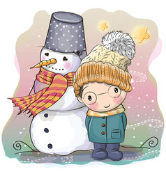 Cute boy and snowman vector