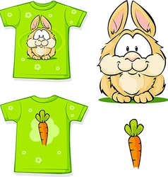 Cute bunny printed on shirt vector