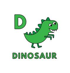 cute cartoon animals alphabet dinosaur vector image