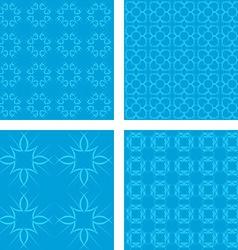 Cyan seamless pattern background set vector