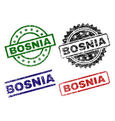 Damaged textured bosnia seal stamps vector