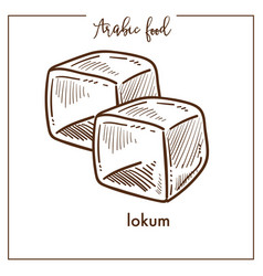 Delicious sweet cubes lokum from arabic food vector
