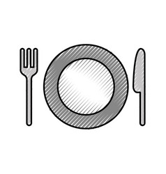 dish with cutlery kitchen vector image