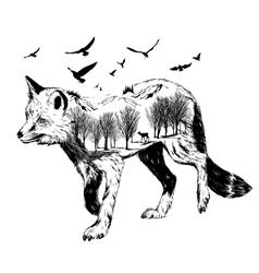 Double exposure silhouette fox wildlife concep vector