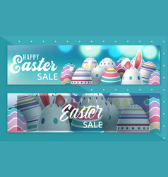 easter sale banner with beautiful colorful eggs vector image