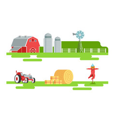 eco farm and agricultural elements set silo tower vector image