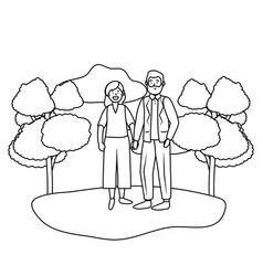 elderly couple avatar vector image