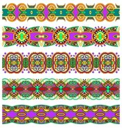 ethnic floral paisley stripe pattern border set vector image