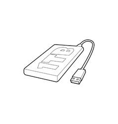 External hard drive 1tb icon outline style vector